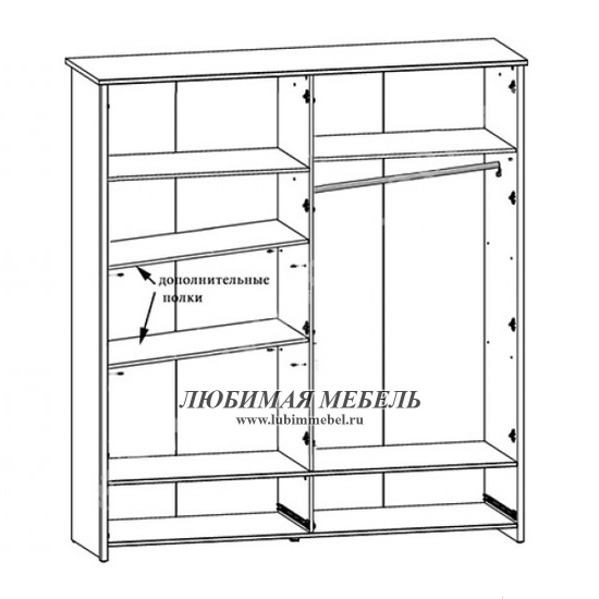 Полки шкафа платяного Порто (фото, вид 1)