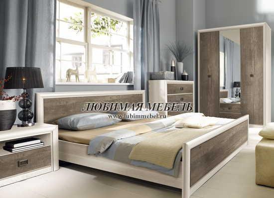 Кровать Коен LOZ160 (фото, LOZ160х200 ясень снежный/сосна натуральная в интерьере)