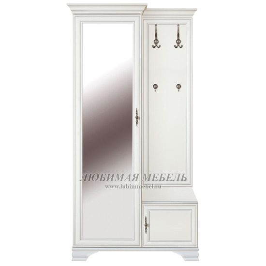 Шкаф с вешалкой Кентаки (левый) белый (фото)