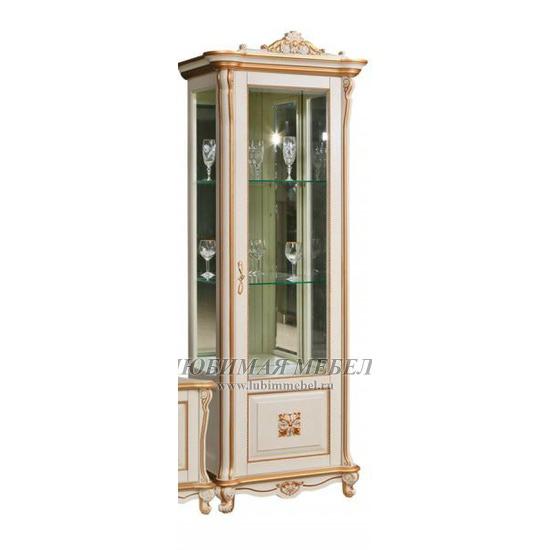 Шкаф с витриной Алези 8 Люкс слоновая кость с золочением (правый) (фото)