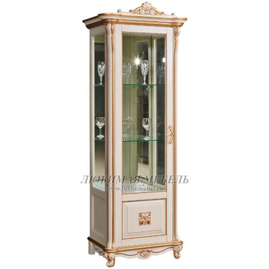Шкаф с витриной Алези 8 Люкс слоновая кость с золочением (левый) (фото)